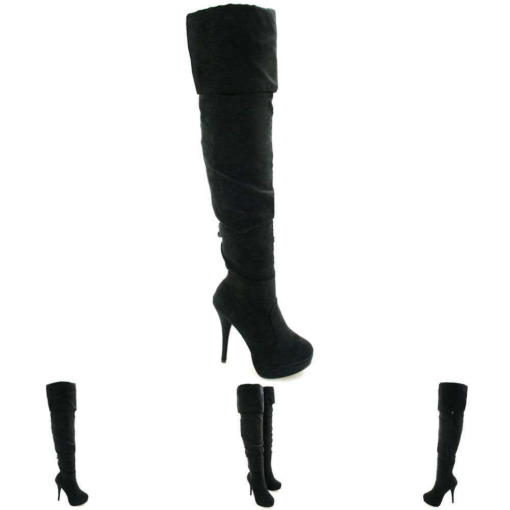 new womens stiletto heel slouch platform thigh high boots