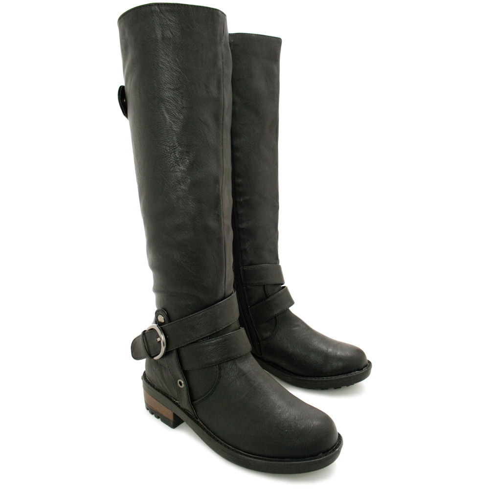 womens ladies flat buckle knee high biker boots size 3 8. Black Bedroom Furniture Sets. Home Design Ideas