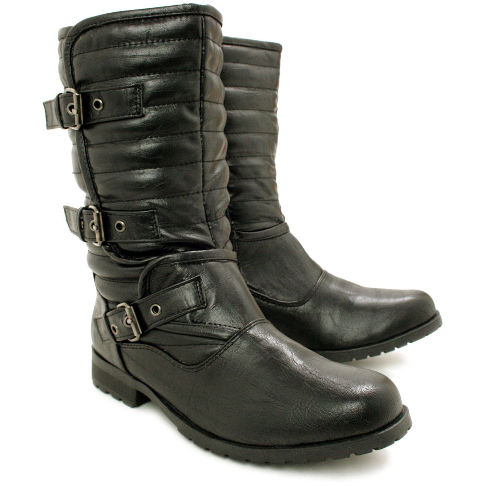 new womens flat buckle quilted biker ankle boots size ebay