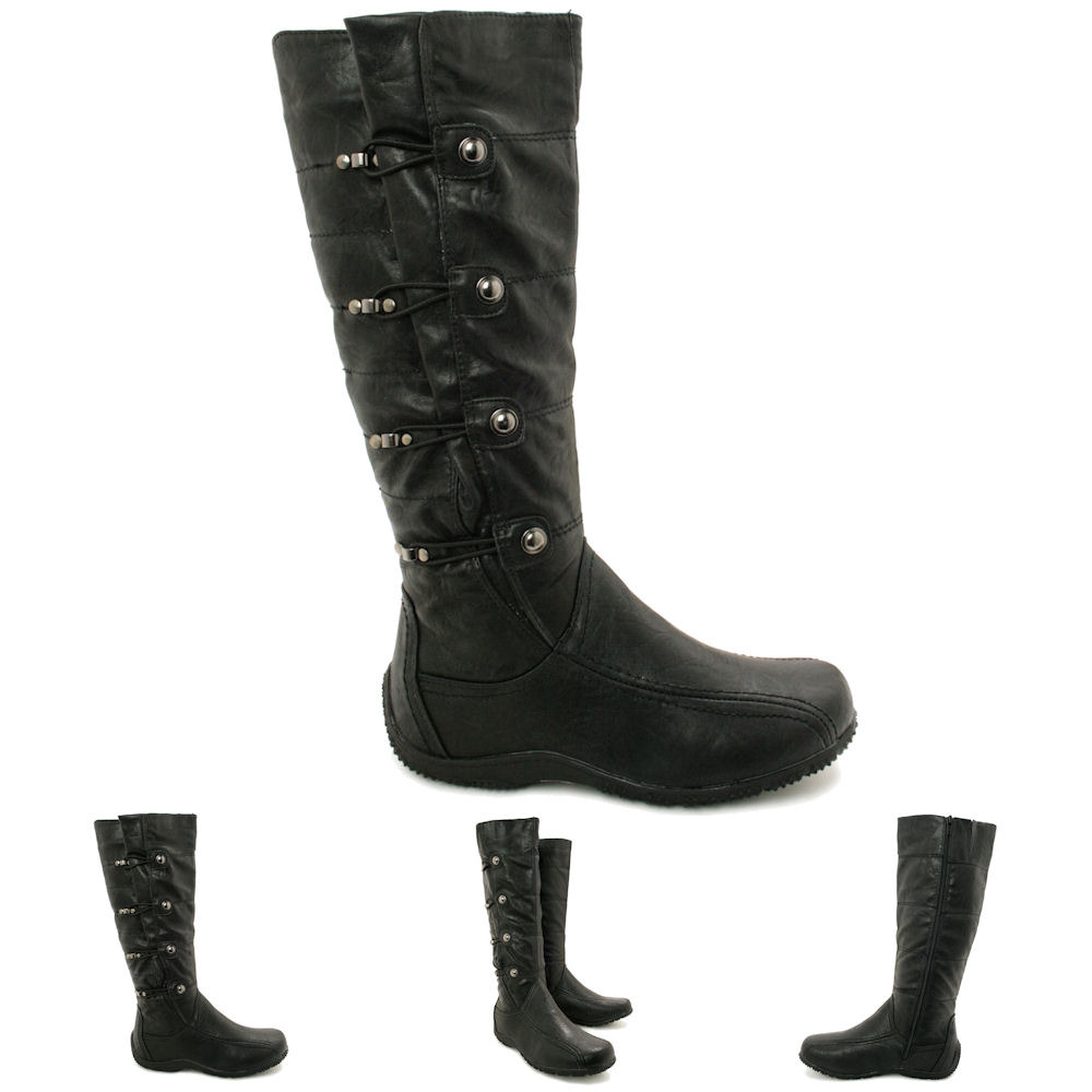 d7e45efcaeb4 Image is loading NEW-WOMENS-FLAT-TOGGLE-KNEE-HIGH-WIDE-CALF-