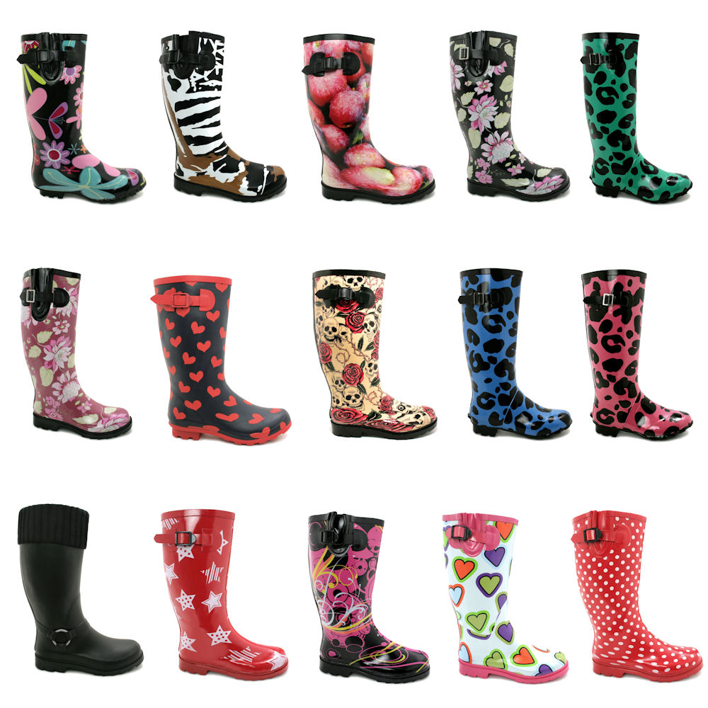 NEW WOMENS WELLIES FLAT WELLY WELLINGTONS KNEE HIGH RAIN LADIES ...