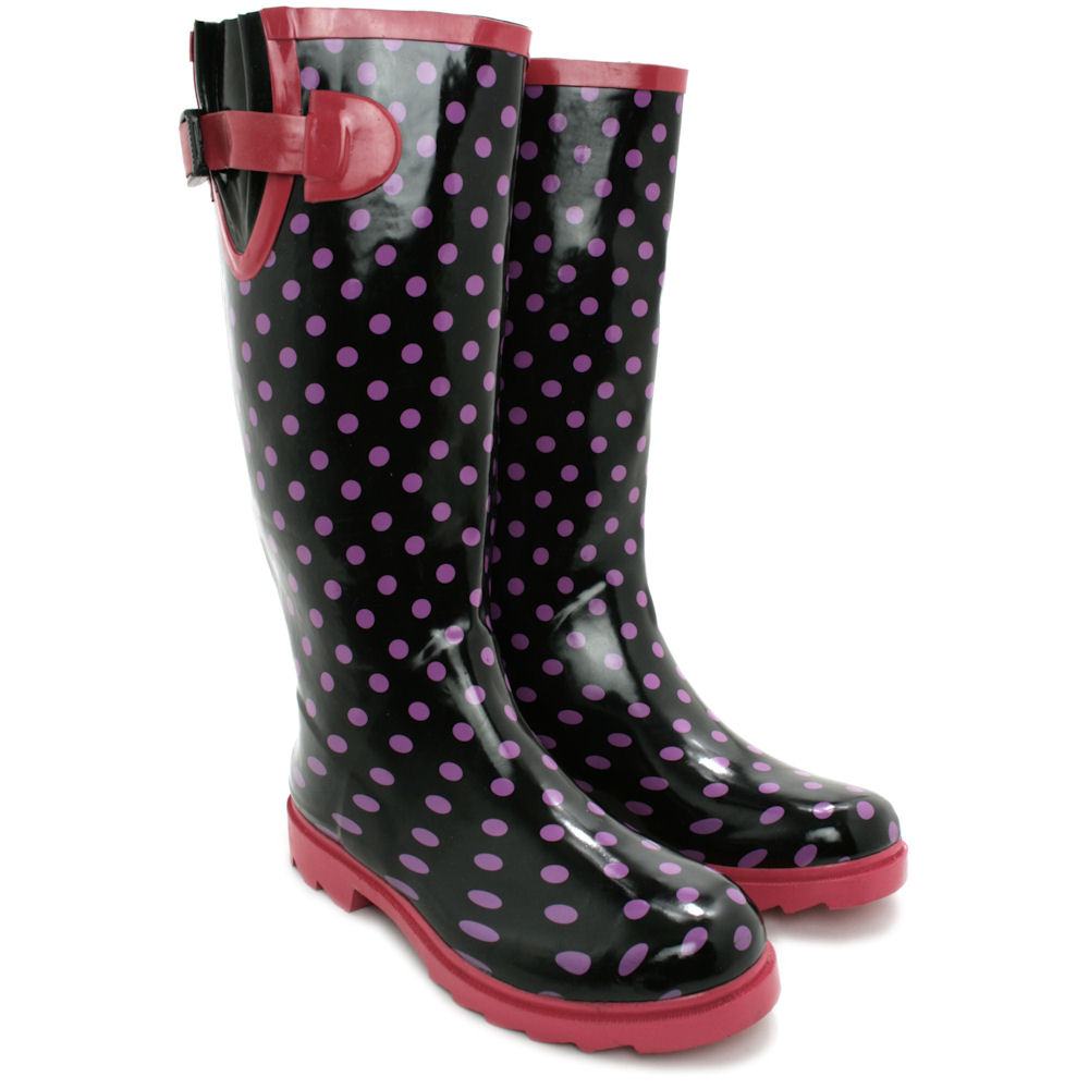 Brilliant  Womens Funky Snow Rain Welly Wellies Wellington Flat Boots Size  EBay