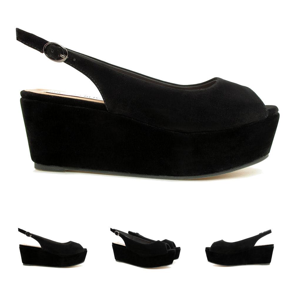 new womens wedge heel flatform peep toe slingback platform