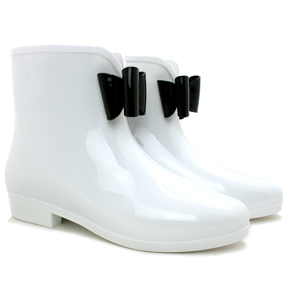 New Womens Ankle Festival Wellies Wellington Bow Rain Boots Size