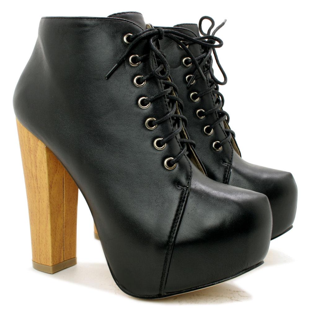 Lace up platform heels boots