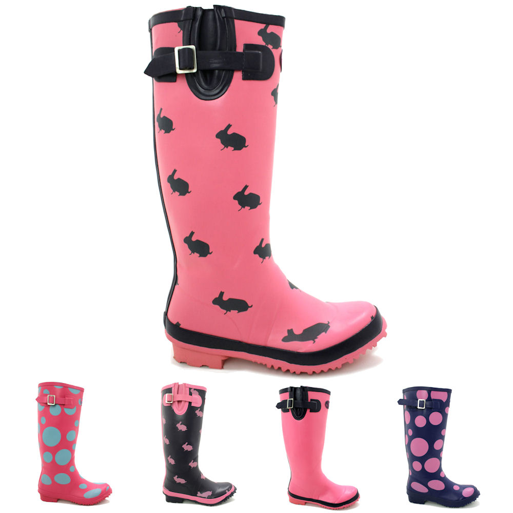NEW WOMENS WETLANDS FLAT FESTIVAL WELLIES WELLINGTON KNEE HIGH ...