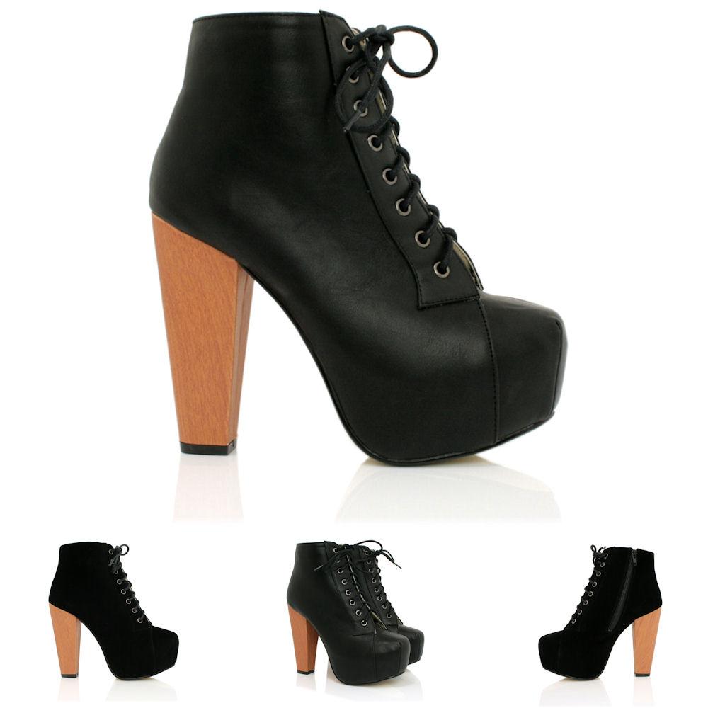 new womens block heel lace up concealed platform ankle. Black Bedroom Furniture Sets. Home Design Ideas