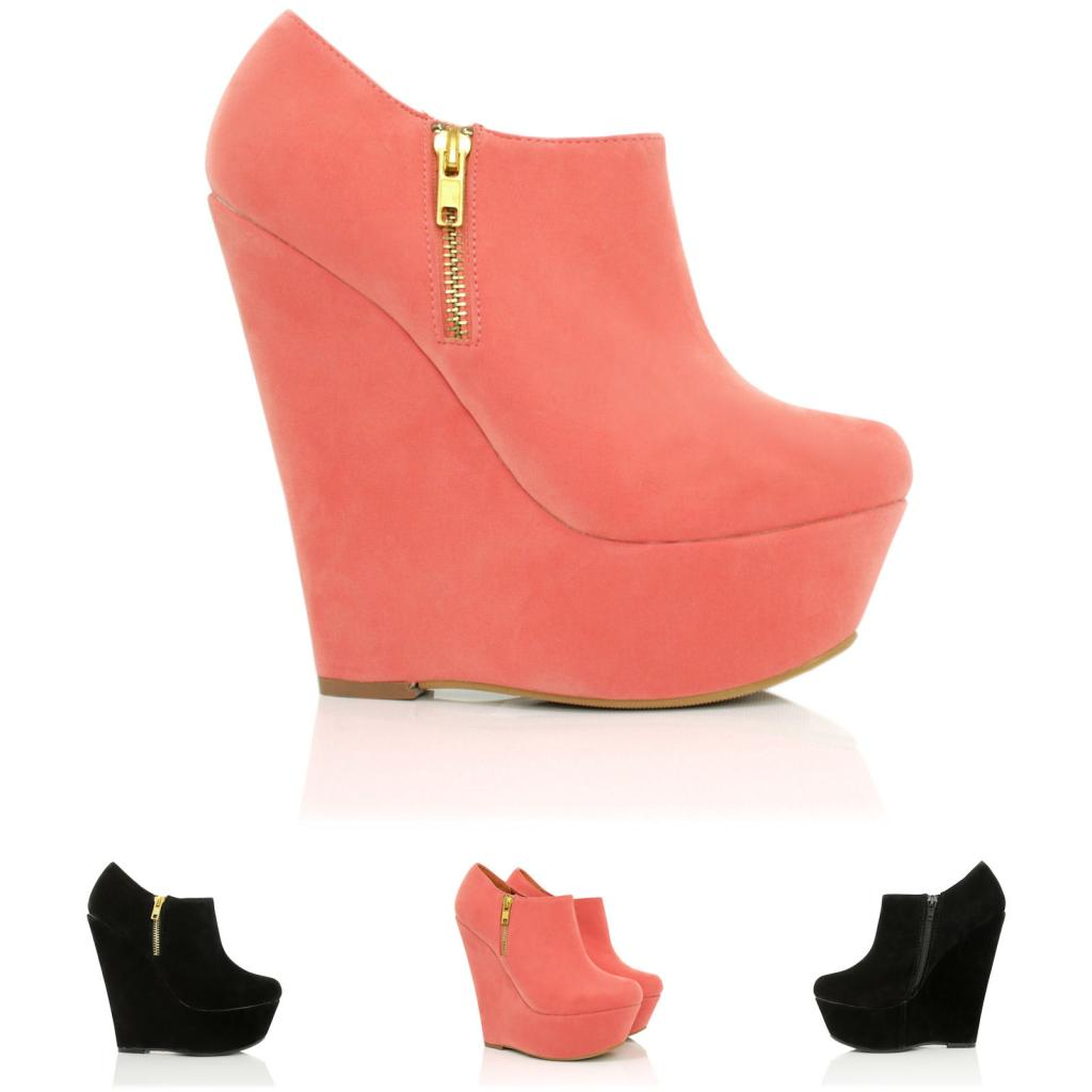 new womens wedge heel zip platform ankle boots size ebay