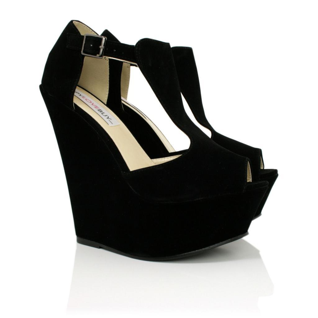 new womens wedge heel t bar peep toe platform shoes size. Black Bedroom Furniture Sets. Home Design Ideas