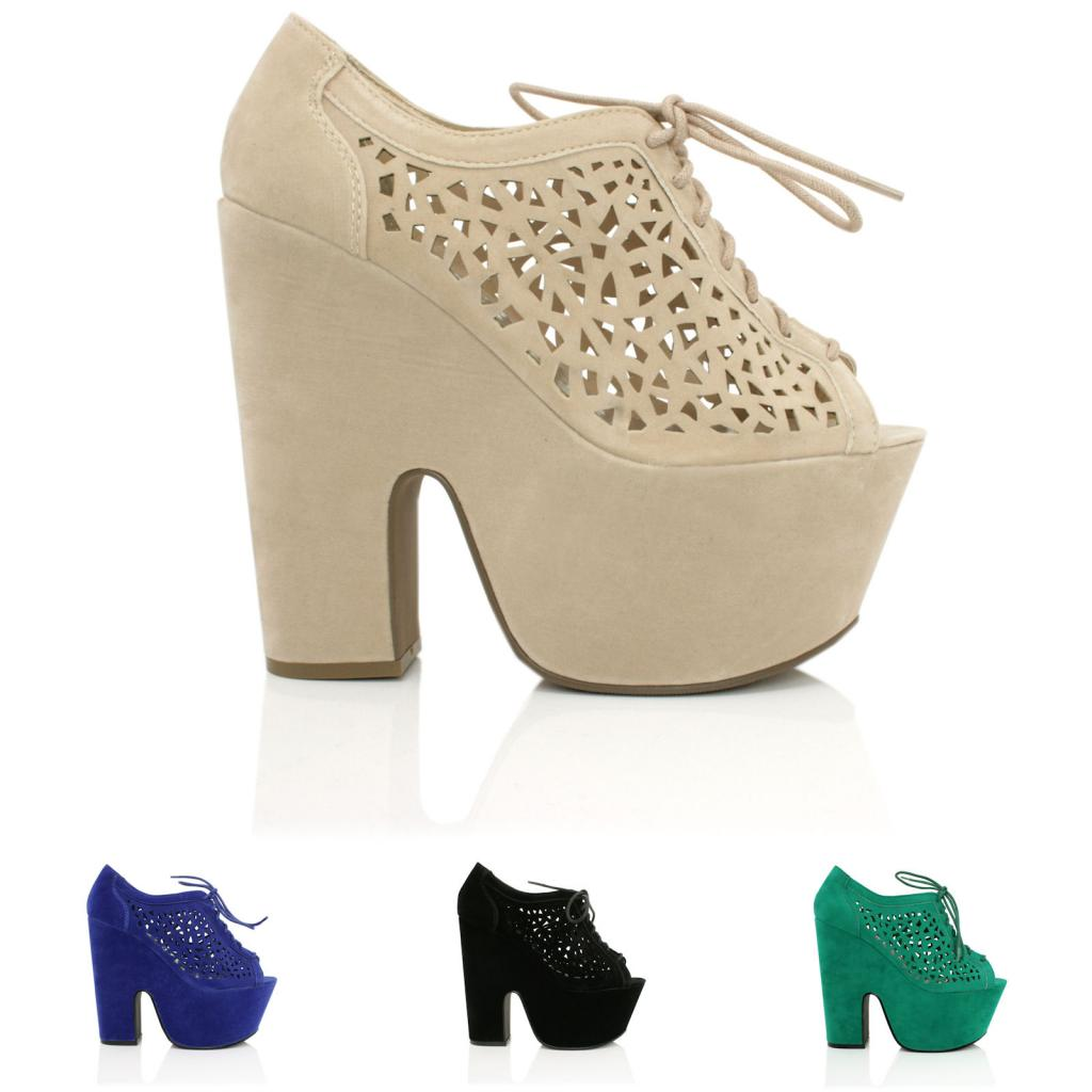 NEW WOMENS DEMI WEDGE HEEL PEEP TOE LACE UP CAGE PLATFORM SHOES