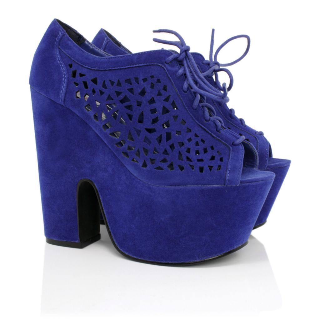 Blue Wedge Heel Shoes