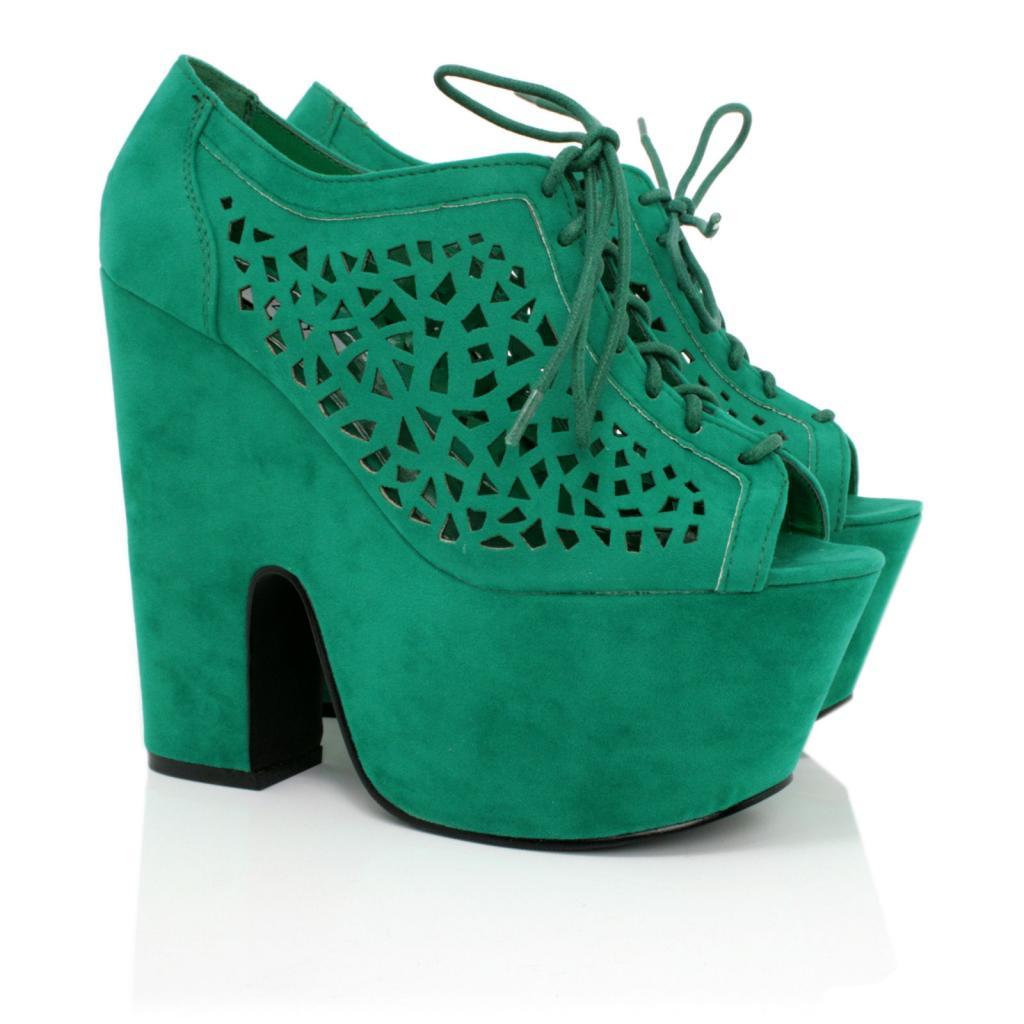 Green Platform Heels