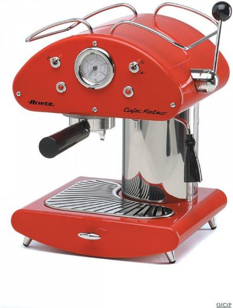 ariete 1385 inox cafe retro espresso cappuccino coffee machine red ebay. Black Bedroom Furniture Sets. Home Design Ideas