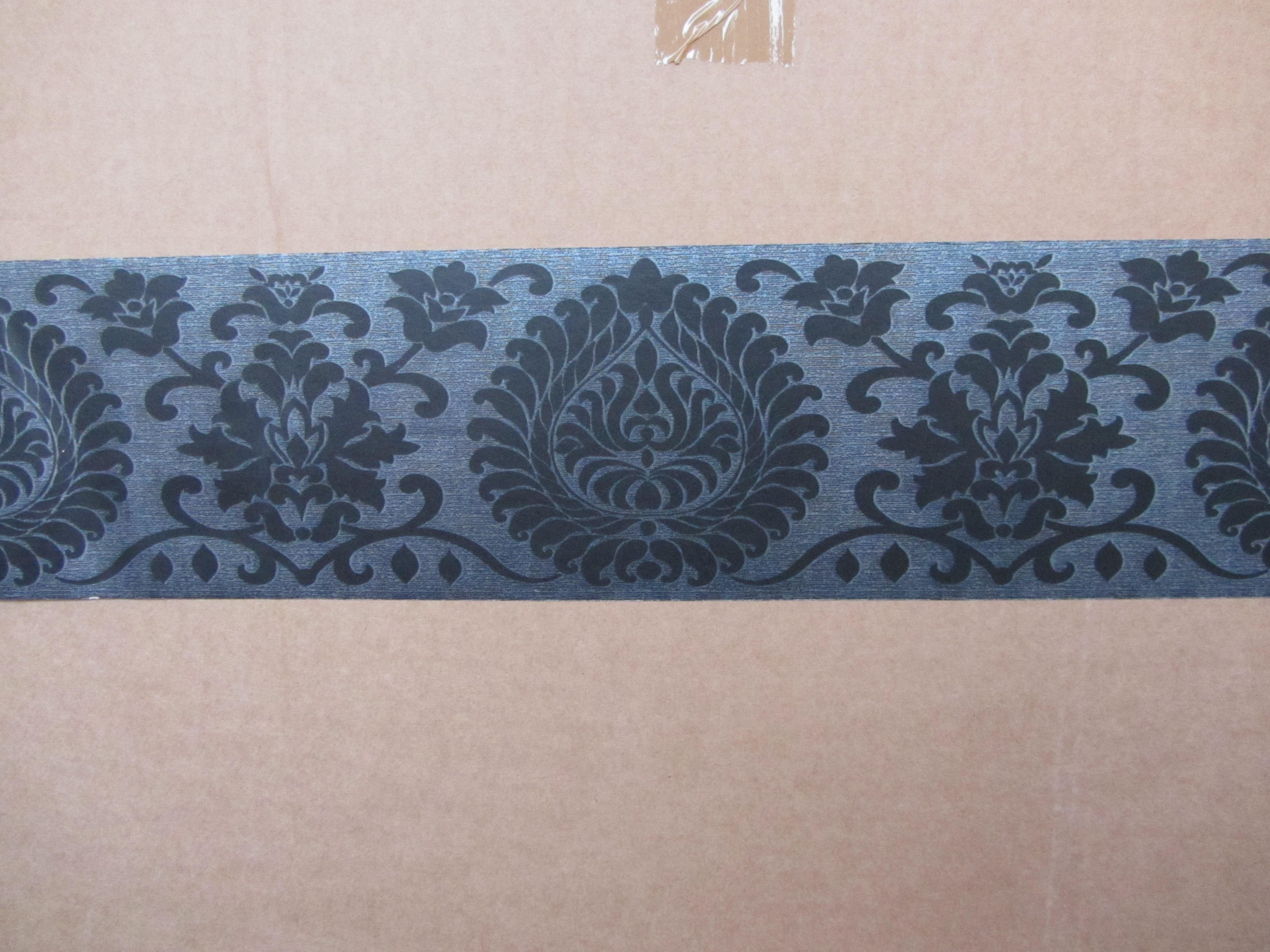 black wallpaper border self adhesive bedroom hallway lounge 30500 new
