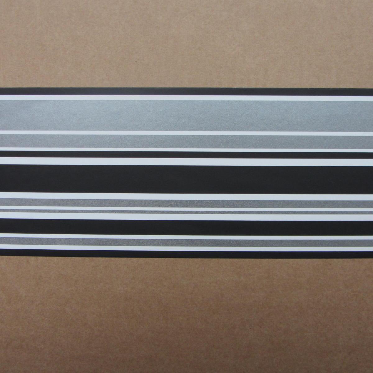 MODERN BLACK SILVER GREY STRIPE READYROLL WALLPAPER BORDER ...