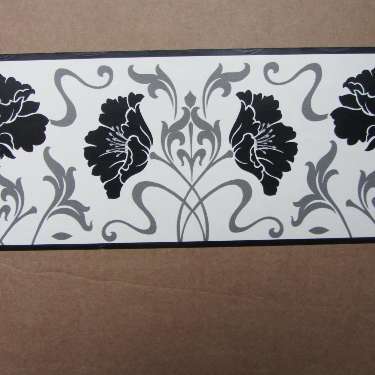 Modern Floral Damask Black White Wallpaper Border Self
