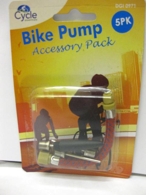 5 PC BIKE PUMP ACCESSORY PACK FOOTBALL BLOW UP BICYLCE TYRE INNER TUBE CYCLE