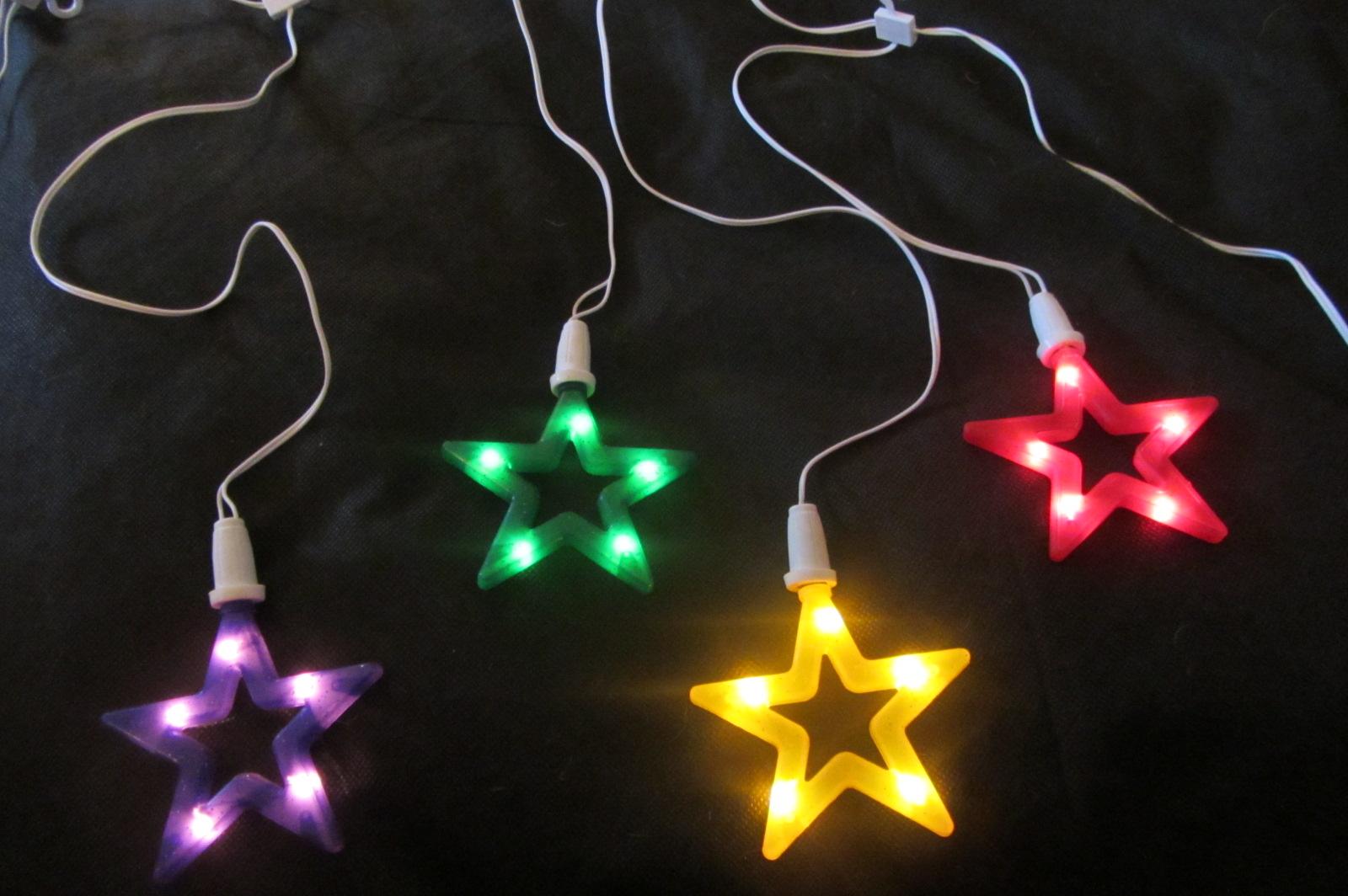 Multi colour 10 star curtain lights christmas decorations for 6 star window christmas decoration lights