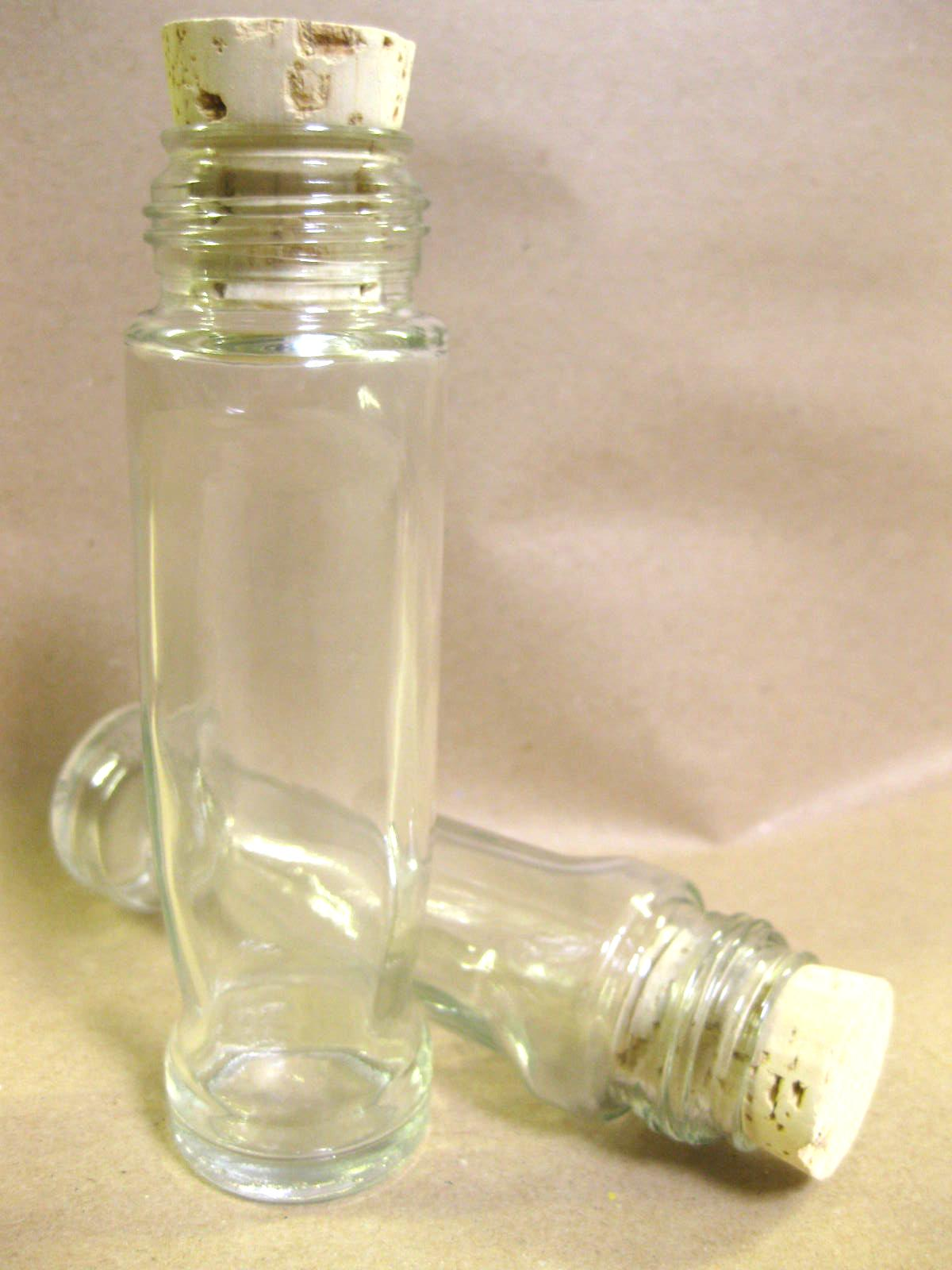 Clear 12cm empty glass message in a bottle with cork for Empty bottle craft