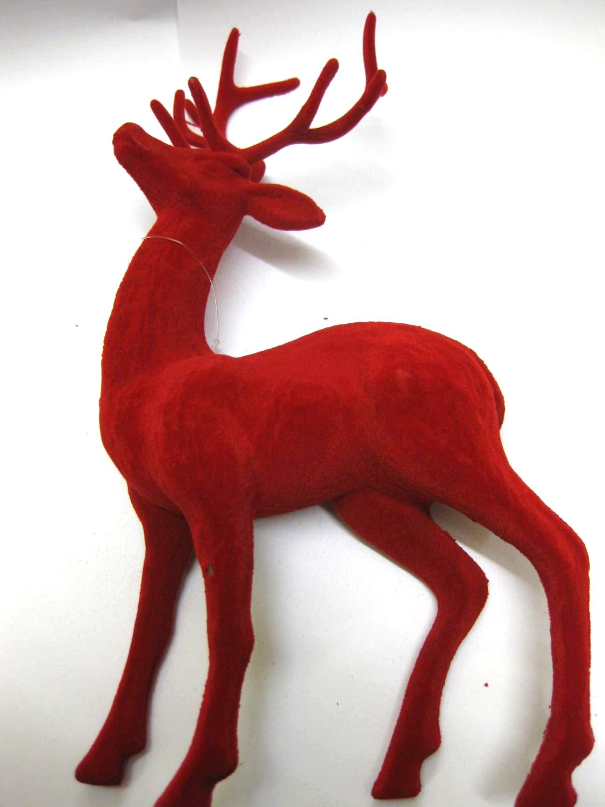 24 x 27cm RED FLOCKED REINDEER ORNAMENT WHOLESALE JOB LOTS CRAFT CHRISTMAS JOB
