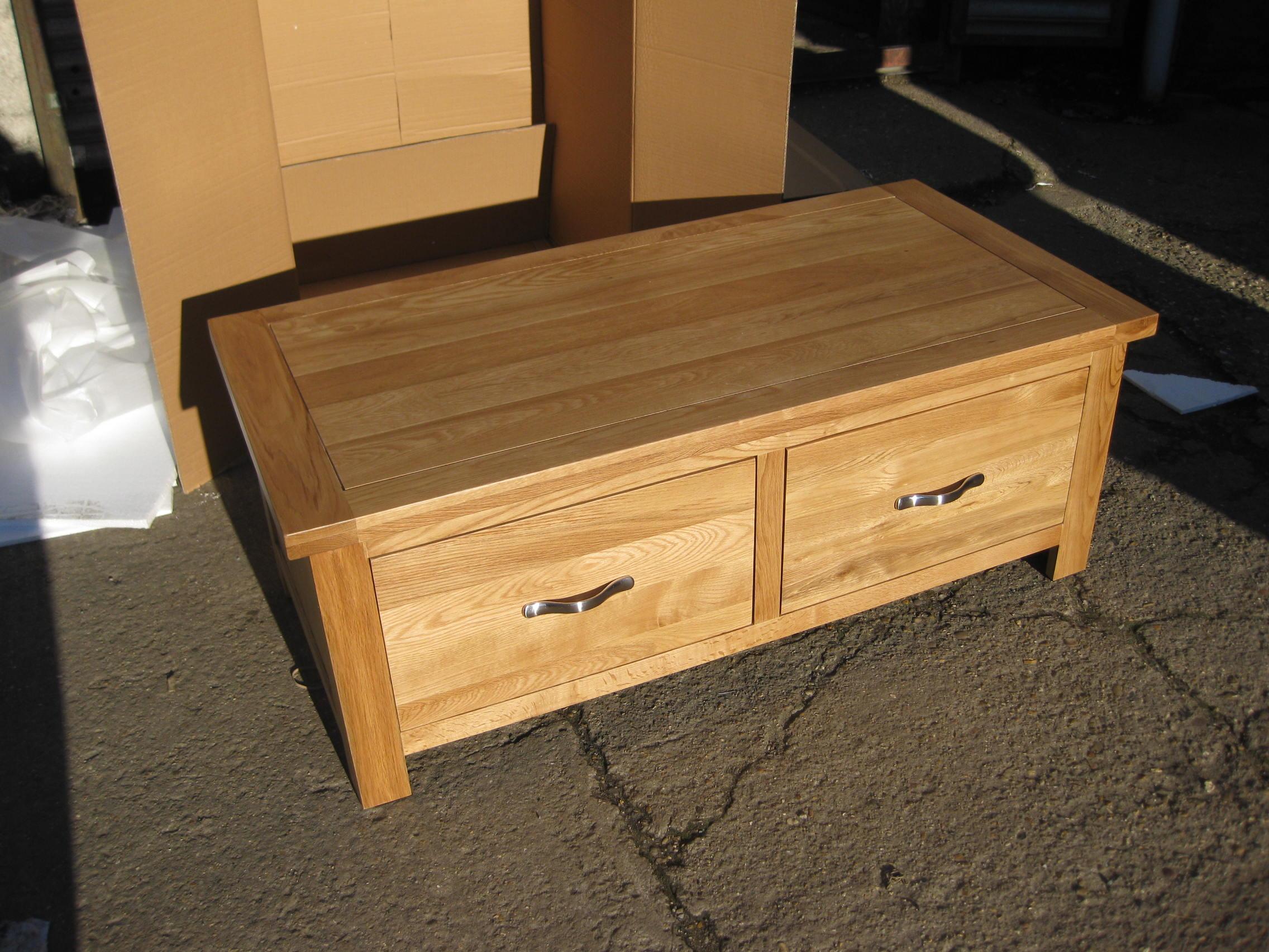 Light Oak Coffee Table Draws Storage Furniture Blanket Box Lounge Solid New Ebay