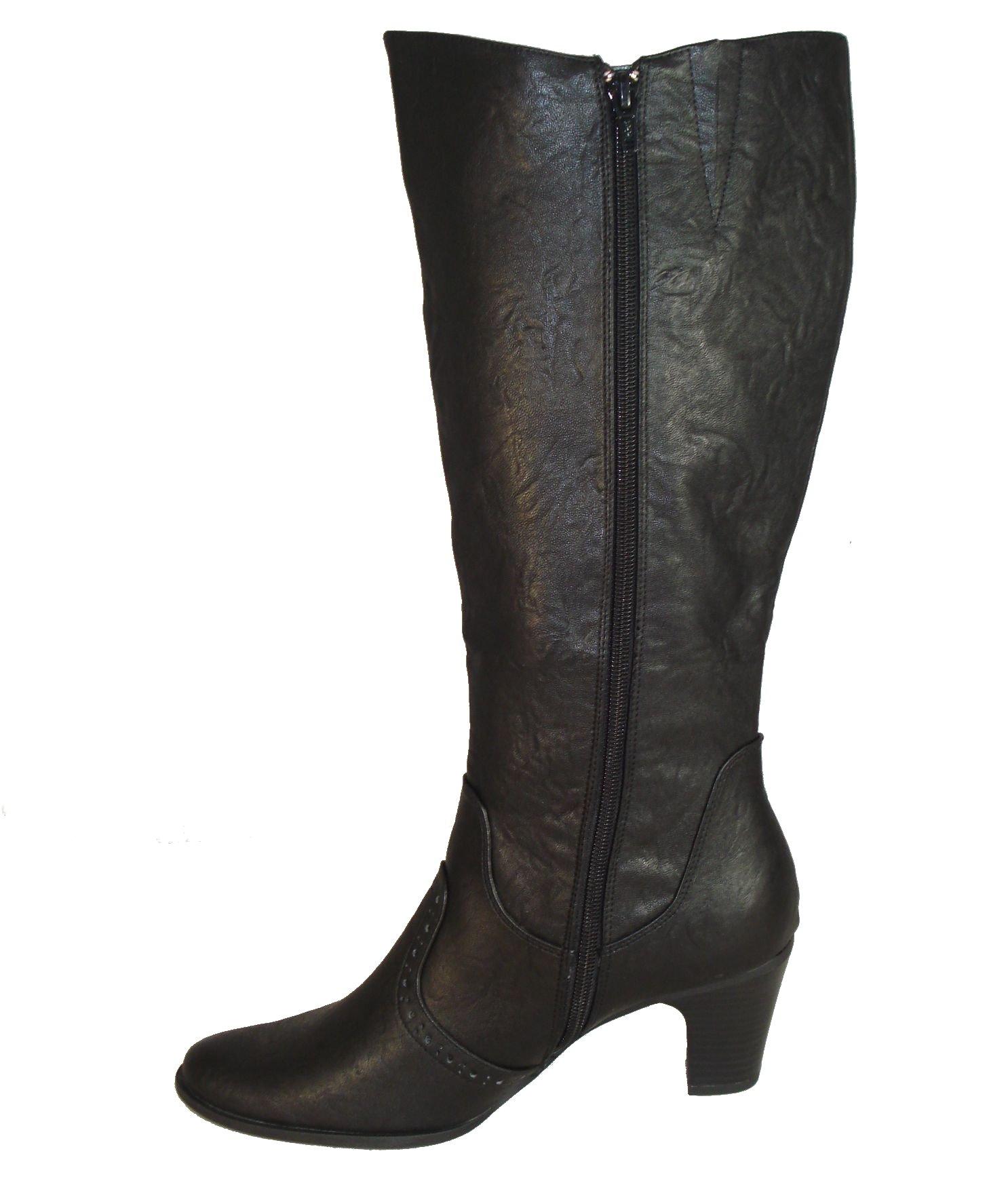 adjustable calf wide leg fit boots black ebay