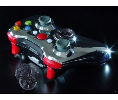 View Item XCM Xbox 360 Chrome Wireless Joypad Shell (with Red LEDs)