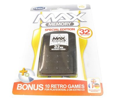View Item 32mb PS2 Memory Card + 10 Free Retro Games