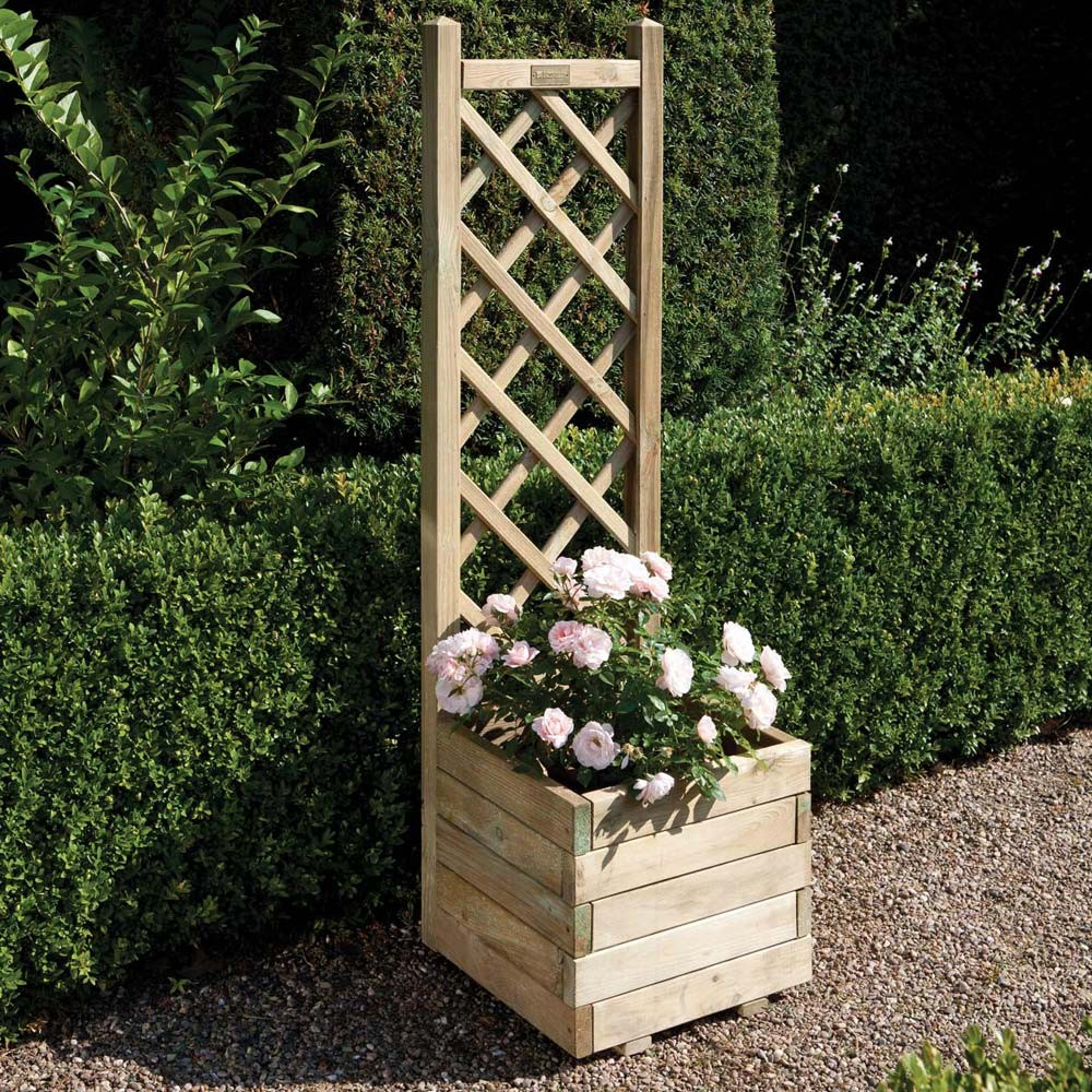Garden Design With Square Planter With Lattice Timber Pressure Treated  Garden Grow With Flower Planter Ideas