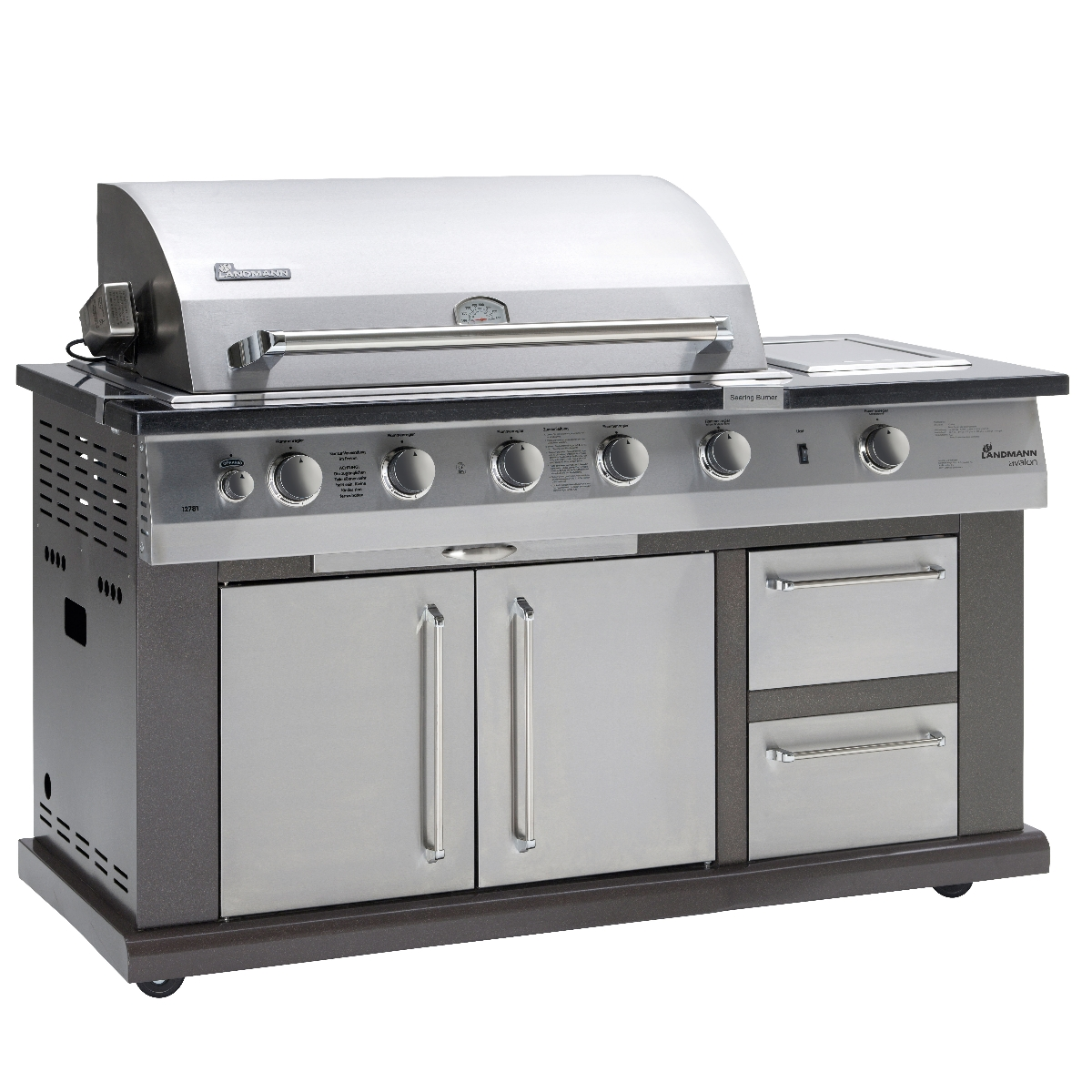 Landmann 12781 avalon gas barbecue 5 burner deluxe kitchen for Modern barbecue grill
