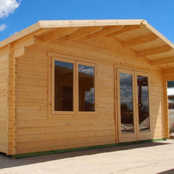 5.6m X 8m 18ft X 26ft 44mm Thick Log Cabin Garden Room