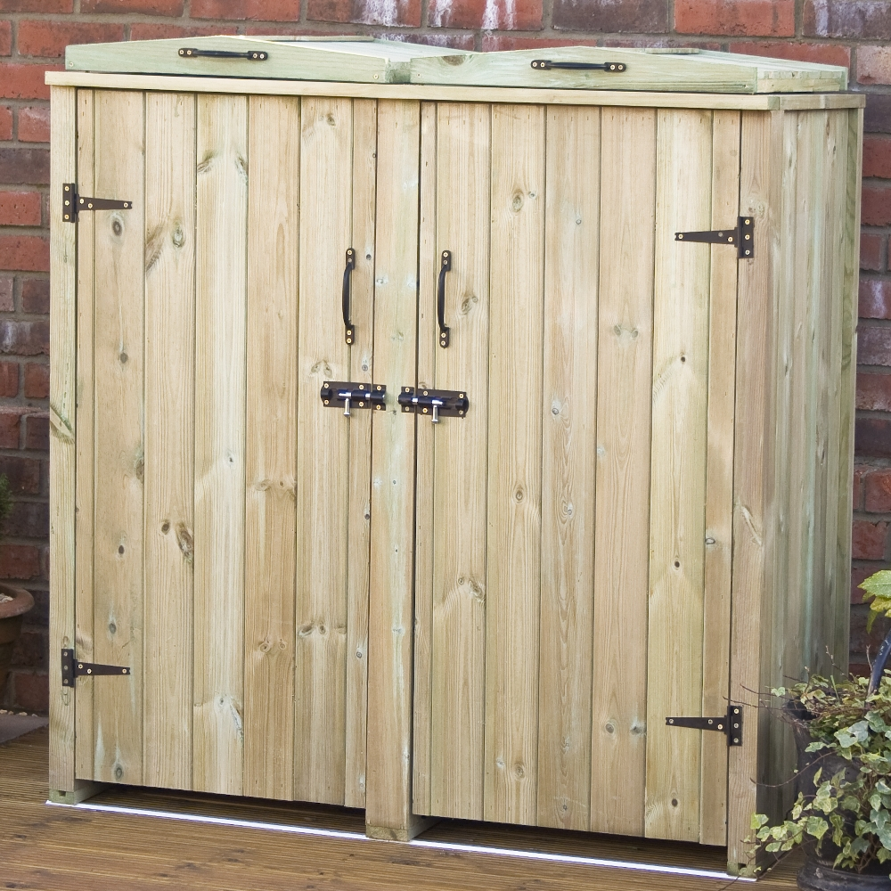Double Wheelie Bin Store Wooden Chest Double Doors Lids