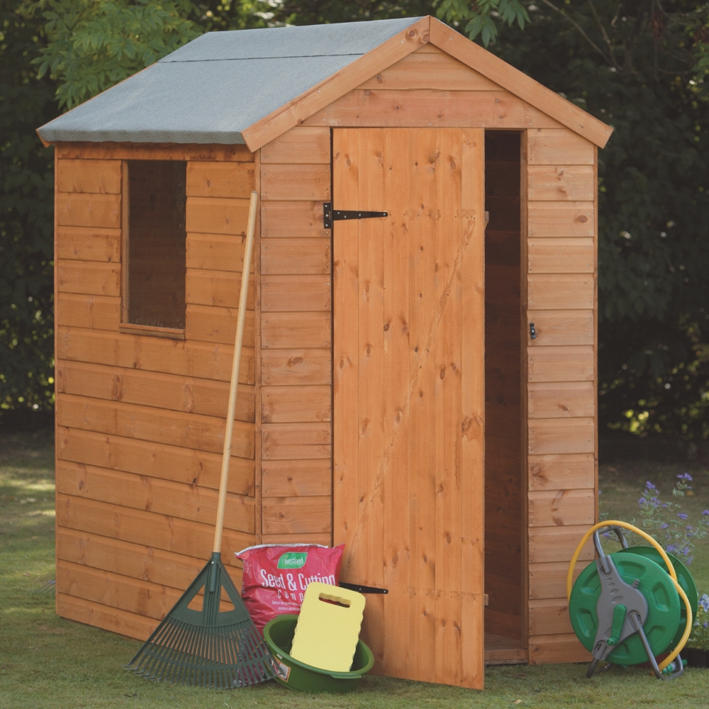 6x4 12mm shiplap apex shed t g treated garden sheds for Garden shed 4x6