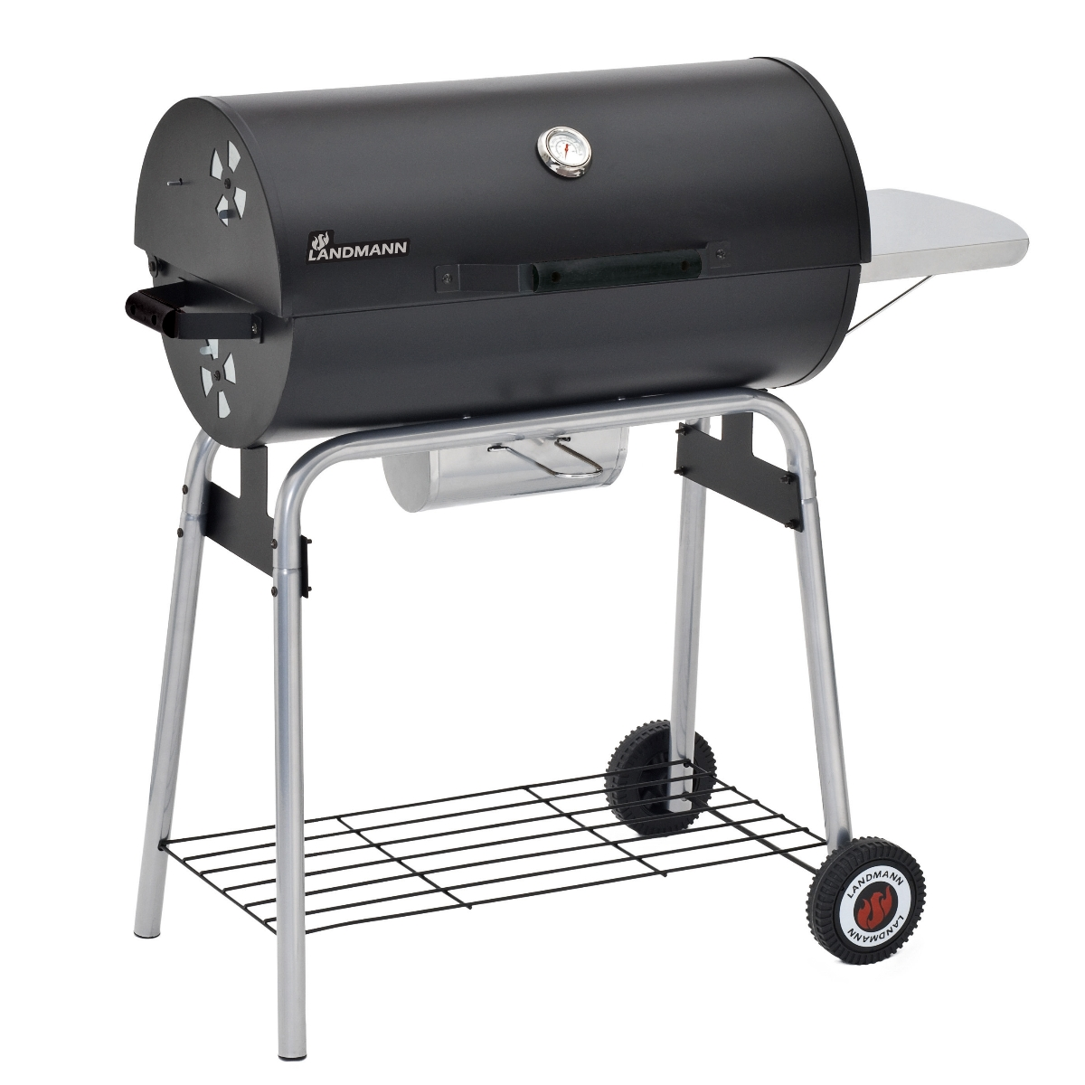 landmann taurus 660 barbecue black charcoal bbq wheels half barrel grill smoker ebay. Black Bedroom Furniture Sets. Home Design Ideas