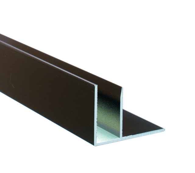 Brown Aluminium F Section for Polycarbonate Sheets Enlarged Preview