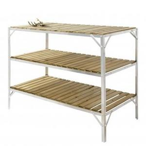 Aluminium & Wooden Slat Greenhouse Staging - 3 Tiers Preview