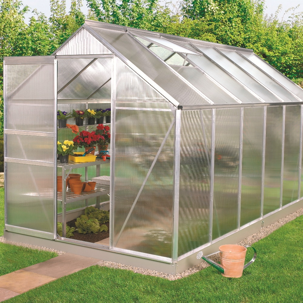10x6 6x10 Silver Greenhouse With Polycarbonate Base Free