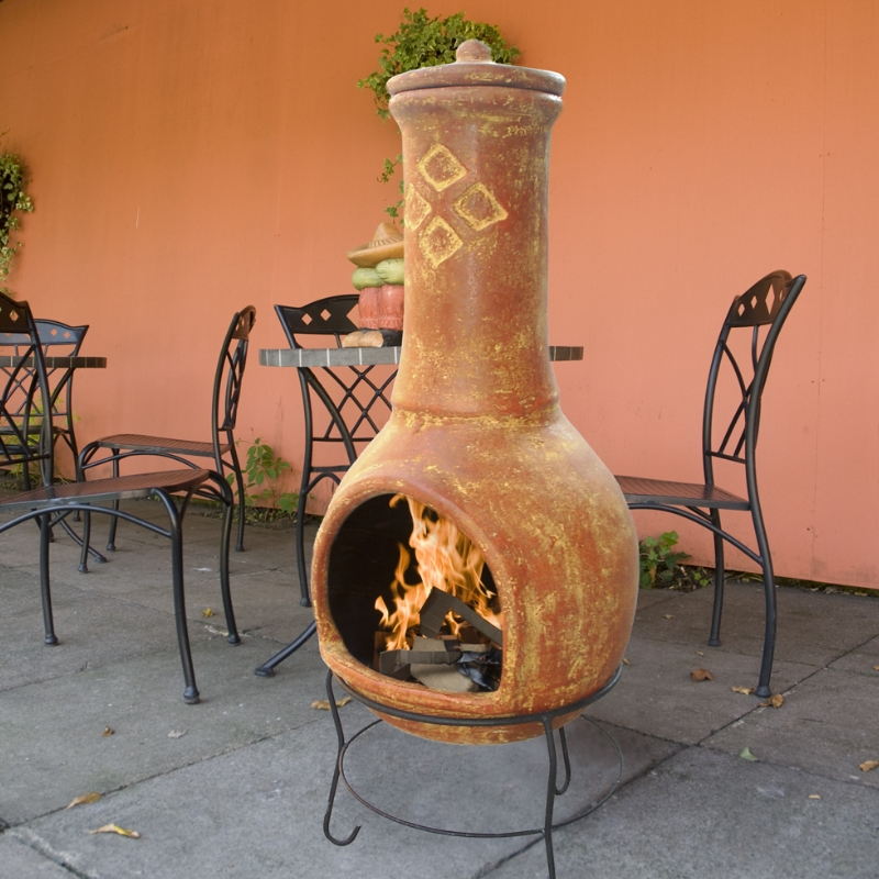 TOLUCA LARGE TERRACOTTA CLAY CHIMINEA CHIMENEA CLASSIC MEXICAN Enlarged Preview