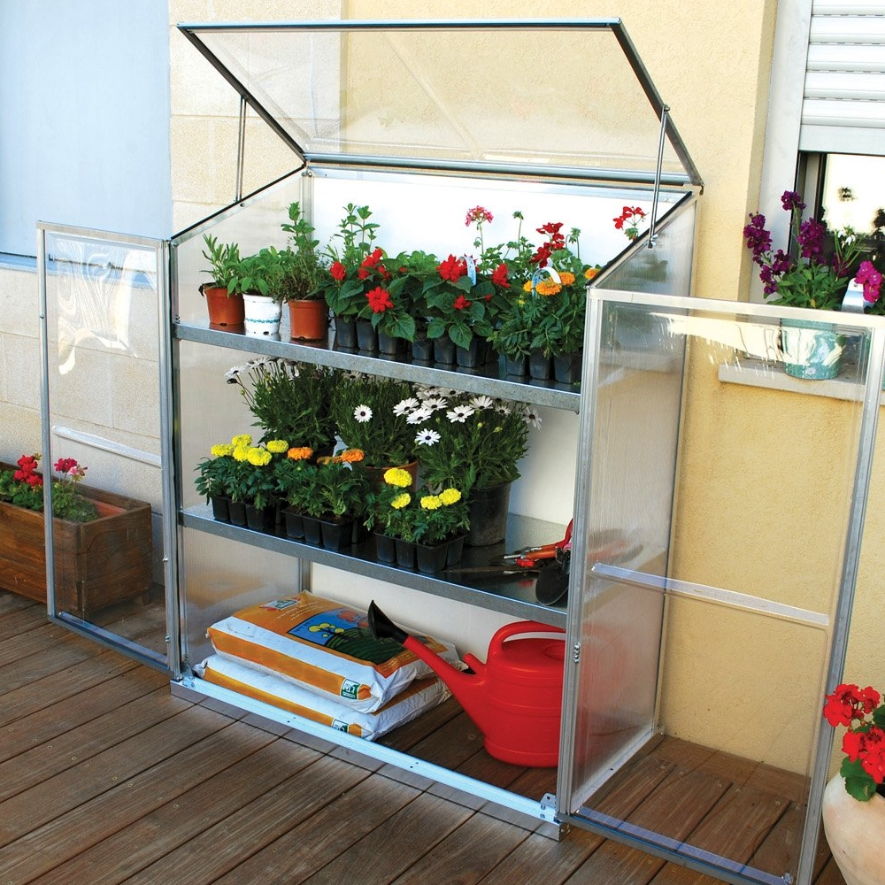 PALRAM LEAN-TO GREENHOUSE WORKSTATION WITH SHELVES, SAFE POLYCARBONATE GLAZING Enlarged Preview