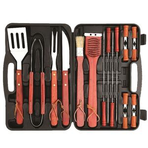 18 Piece Wooden BBQ Barbecue Tool Set - In Plastic Case Preview