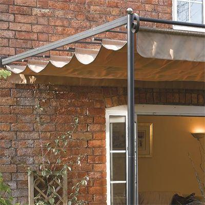 St Tropez Wall Mounted Sun Shade Canopy Retractable Taupe