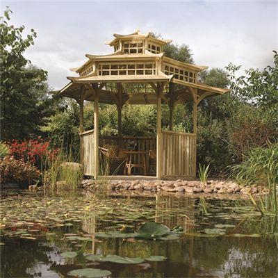 Oriental pagoda garden gazebo timber six sided treated for Six sided gazebo