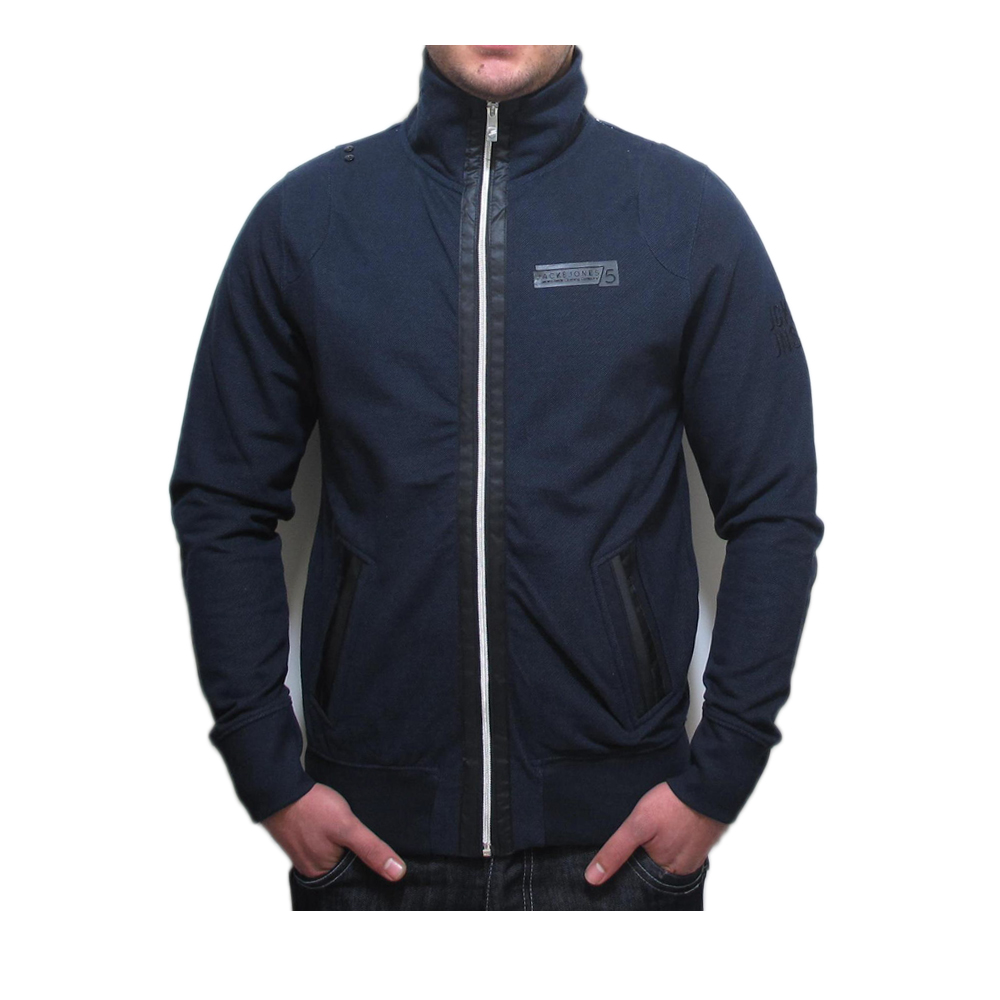 new mens jack jones hayford sweat grey navy jacket ebay. Black Bedroom Furniture Sets. Home Design Ideas