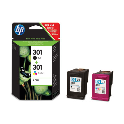 HP 301 Combo Pack Cartridges -Black/Tri Colour Enlarged Preview