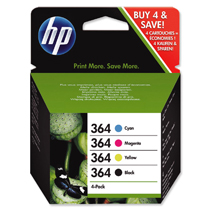 Genuine HP Original SD534EE B/C/M/Y 364 Ink Cartridges - Combo / 4-Pack Enlarged Preview