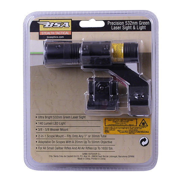"View Item BSA Heavy Duty Green Laser & Torch Set - Fits 1"" Tube Scopes STSLLGCP"