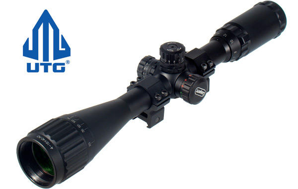 View Item Leapers UTG 4-16x40 Red/Green Illuminated PX Adj Riflescope SCP-U4164AORGW