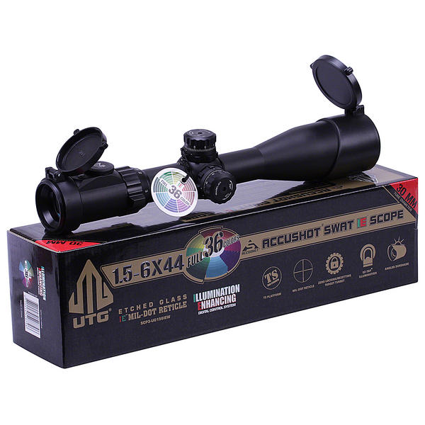 View Item Leapers UTG 1.5-6x44 36 Colour Illuminated Glass Etched Mil Dot Riflescope Sight