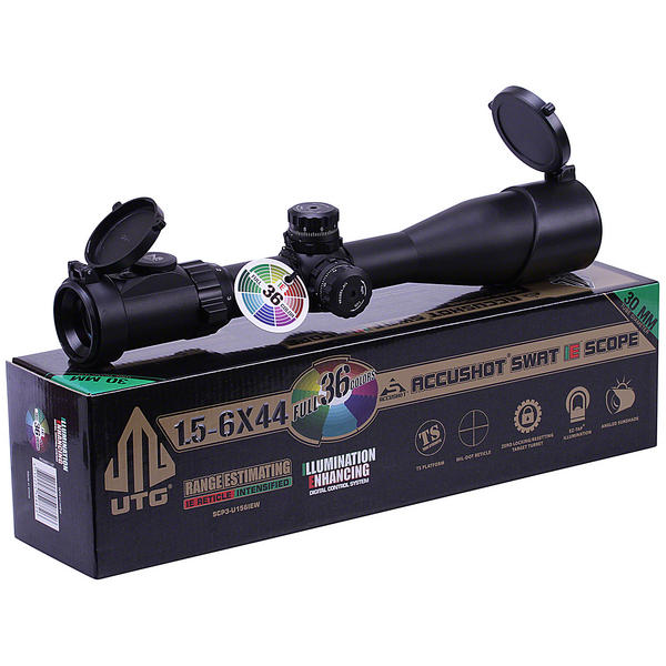View Item Leapers UTG 1.5-6x44 36 Colour Illuminated Mil Dot Riflescope Sight SCP3-U156IEW