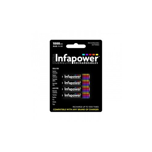 GENUINE NEW INFAPOWER AAA 1000MAH WITH 4 RECHARGABLE BATTERIES BIF1031 B002